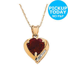 9ct gold created ruby and diamond accent heart pendant the official argos