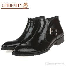 grimentin hot brand men boots patent leather zip black brown dress mens ankle boots italian fashion formal business office male shoes chelsea boots
