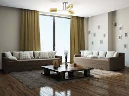 exciting modern living room with double sofas and living room curtains completed with soft rug and