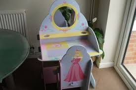 childs wooden play dressing table and chair