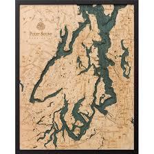 Nautical Wood Charts Puget Sound