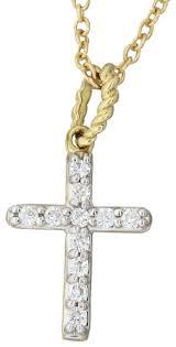 david yurman cross pendant gold petite pave diamond necklace