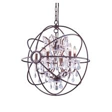elegant lighting geneva 6 light rustic intent chandelier with clear crystal