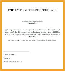 Employment Certificate Template Beauteous Employee Experience Certificate Template Letter Word Sample Ms
