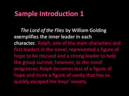 lord of the flies essay tips and examples ppt  5 sample introduction 1 the lord of the flies