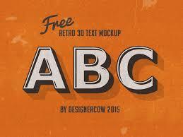free psd retro 3d text mockup