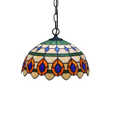 traditional antique stained glass bird peacock tail unique shape led pendant lamp light e27 bulb lighting for kitchen island