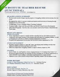 Example Of Functional Resumes Substitute Teacher Resume Sample Functional X Examples Of