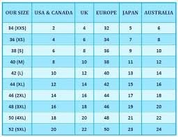 Jeans Size Chart Us Eu Uk U S And Europe Clothing Size Conversion Table