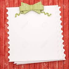 Vintage Holiday Paper Background With Green Bow White Invitation