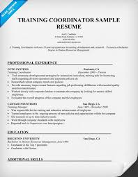 Example Training Coordinator Resume