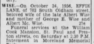 Obituary for EFFIE WISE.-On - Newspapers.com