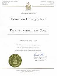 Awards Certification Of Dominion Driving Schools Kitchener