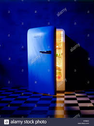 Refrigerator Light Out Light Emitting Out Of Partially Open Nutrition Meal