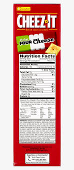 cheez it baked snack cheese ers italian four cheese ing and nutrition label original reduced fat