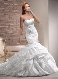 mermaid strapless ruched taffeta wedding dress with flowers