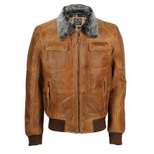 mens real leather vintage er pilot jacket fur
