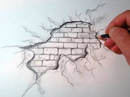 How To Draw A Cracked Brick Wall by bessie. Cool Art Drawings3d ...