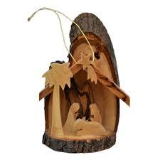 Holz Anhänger Krippe Olivenholz Christbaumschmuck