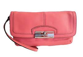 Coach F48988 Kristin Leather Large Flap Wristlet Rose Pink Wallet Purse