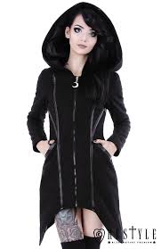 black gothic winter coat with pockets huge hood jacket assassin coat