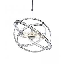 eternity chrome and crystal pendant light circular rotating rings
