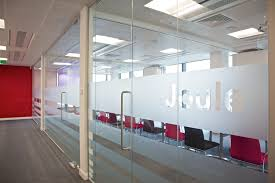 Glass Office Wall Large Transparent Glass Partitions With Door Having Steel Handle On White Wall And Laminate Flooring Pleasing Room Brings Enchanting Looks Office F