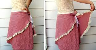 Diy Upcycled Clothing Needle And Nest Design Diy Upcycle Tablecloth Into Wrap Skirt