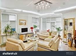 art deco era furniture. Modern Art Deco Style Drawing-room Interior With Beige Leather Furniture And TV Era