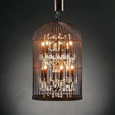 birdcage lighting chandelier vintage rustic birdcage crystal chandelier lighting black bird cage pendant hanging light chandeliers birdcage lighting