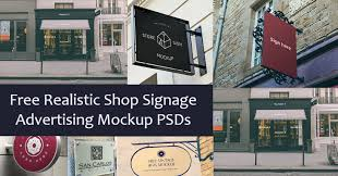 Magazines & books, iphone, ipad, macbook, imac, packaging, signs, vehicles, apparel, food and beverages, cosmetics and more! 10 Free Realistic Shop Signage Advertising Mockup Psds Graphberry Blog