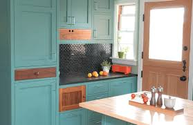 Painting Wooden Kitchen Doors Interior Blod Teal Blue Color Kitchen With Peach Orange Wooden