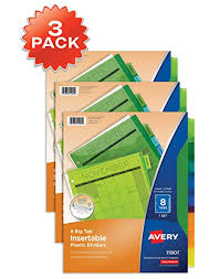 Avery 11901 Template Avery 8 Tab Plastic Binder Dividers Insertable Multicolor Big Tabs 3 Sets 11901 71901