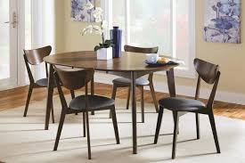 dining table mid century modern table set dark brown wooden chair round white clic gloss table black stained