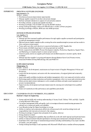 Supplier Engineer Resume Samples Velvet Jobs