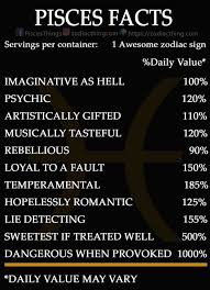 Pisces Zodiac Chart Some Percentages Might Be A Tad Off But Mostly Accurate