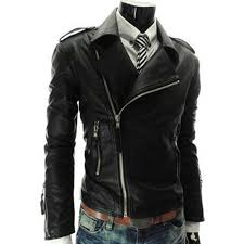 slim fit mens asymmetrical black leather motorcycle zipper jacket