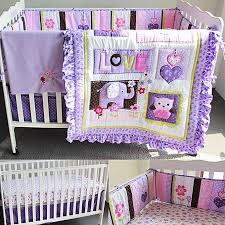 new baby 8pcs nursery bedding set girls purple elephant crib cot quilt per purple elephant 8pcs