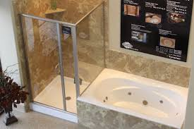chic bathtub shower combo with glass shower door and shower pan with tile shower ideas
