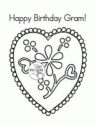 Happy Birthday Gram Coloring Page For