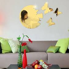 new moon and butterfly pattern home decor wall stickers diy 3d