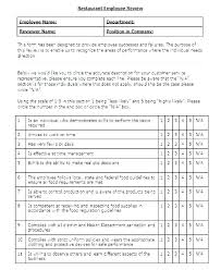 Restaurant Employee Performance Review Review Form Template Velorunfestival Com