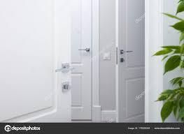 modern door handles. Open The White Door Into Corridor. Chrome Modern Handles \u2014 Stock Photo L