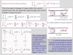 12 the conservation of mass equation is obtained by replacing b in the reynolds transport theorem