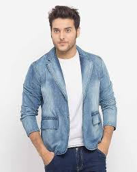 best light blue denim casual coat