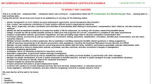 Hr Compensation And Benefits Manager Work Experience Certificate