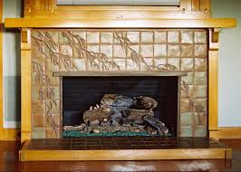 Decorative Relief Tiles Arts and Crafts Fireplace by Pasadena Craftsman Tile providers of 86