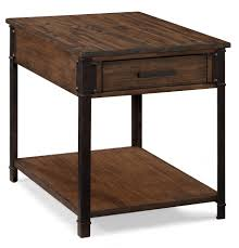 magnussen home larkin industrial rectangular end table with
