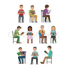 people reading textbooks men and women seating on chair with open book in hands flat vector isolated on white background enthusiastic readers ilration