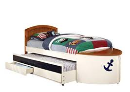 furniture of america youth boat design bed with trundle and storage drawer twin white